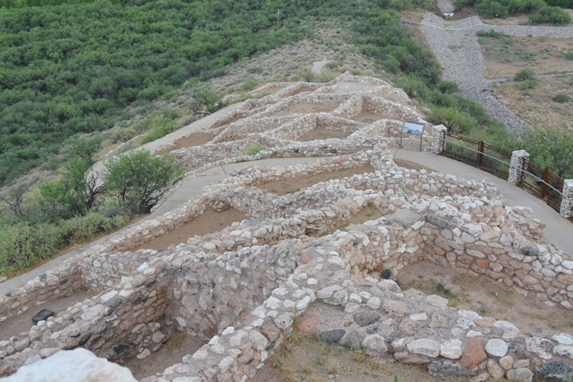 Looking down on the other dwelling from the top roof at Tuzigoot